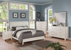 Tyler 22537EK5PC Bedroom Set with Eastern King Size + Dresser + Mirror + Chest + Nightstand in White Color
