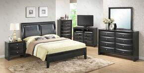 G1500AFBNTV 3 Piece Set including Full Size Bed, Nightstand and Media Chest  in Black