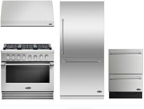 "4 Piece Kitchen Package With RDV2366N 36"" Dual Fuel Freestanding Range, DCS VS36 36"" Wall Mount Hood, RS36W80RJC1 36"" Built In Bottom Freezer Refrigerator and DD24DV2T7 24"" Dishwasher in Stainless Steel"