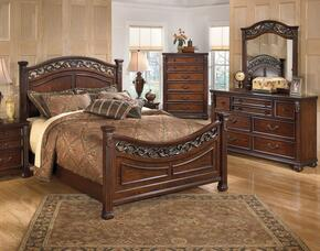 Leahlyn Queen Bedroom Set with Panel Bed, Dresser and Mirror in Warm Brown