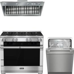 """3-Piece Stainless Steel Kitchen Package with HR1954DFLP 48"""" Freestanding Dual Fuel Range, DAR1150 48"""" Range Hood Insert, and G4998VISF 24"""" Fully Integrated Dishwasher"""