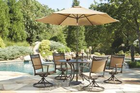 Christie Collection OD-365-RDT4SCU 6-Piece Outdoor Patio Set with Round Dining Table, 4 Swivel Chairs and Umbrella with Base in Tan and Brown