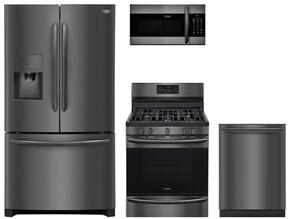 "4-Piece Kitchen Package with FGHB2867TD 36"" French Door Refrigerator, FGGF3059TD 30"" Gas Freestanding Range, FGMV155CTD 30"" Microwave Oven and FGID2466QD 24"" Dishwasher in Black Stainless Steel"