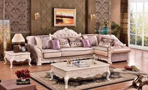 Arturo Collection 696LSSEC 3-Piece Living Room Set with Sectional Sofa, End Table and Coffee table in Rich Pearl Finish