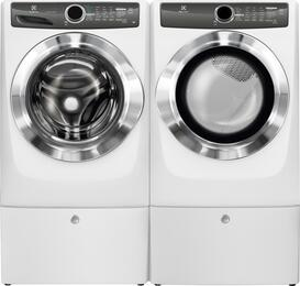 "White Front Load Laundry Pair with EFLS517SIW 27"" Washer, EFMG517SIW 27"" Gas Dryer and 2 EPWD157SIW Pedestals"