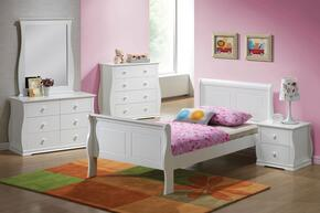 Nebo 30085T5PC Bedroom Set with Twin Size Bed + Dresser + Mirror + Chest + Nightstand in White Color
