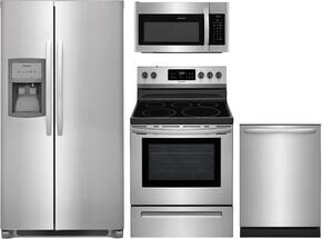 "4-Piece Stainless Steel Kitchen Package with FFSS2625TS 36"" Side-by-Side Refrigerator, FFEF3054TS 30"" Freestanding Electric Range, FFID2426TS 24"" Fully Integrated Dishwasher and FFMV1645TS 30"" Over-the-Range Microwave"