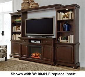 "Porter W697LGWALL02 Entertainment Center with 62"" Wide Extra Large TV Stand, Left Pier, Right Pier, Bridge and W100-02 Fireplace Insert in Rustic Brown Finish"