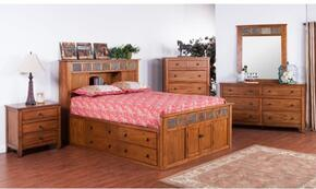 Sedona Collection 2334ROSKBDMN 4-Piece Bedroom Set with Storage King Bed, Dresser, Mirror and Nightstand in Rustic Oak Finish