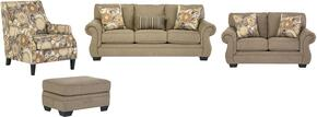Tailya Collection 47700SLACO 4-Piece Living Room Set with Sofa, Loveseat, Accent Chair and Ottoman in Barley and Espresso