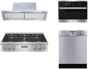 "4-Piece Stainless Steel Kitchen Package with KMR1134LP 36"" Liquid Propane Rangetop, DA3496 36"" Under Cabinet Hood, 22620054USA 24"" Single Wall Oven, and G4228SCUSS 24"" Full Console Dishwasher"