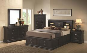201079KE5P Louis Philippe 5 Piece Bedroom Set in Black with King Storage Bed, Chest, Dresser, Mirror and Single Nightstand