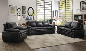 G283SET 3 PC Living Room Set with Sofa + Loveseat + Armchair in Black Color