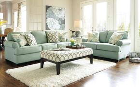 Daystar 28200SLAO2ETR 6-Piece Living Room Set with Sofa, Loveseat, Accent Ottoman, 2 End Tables and Rug in Seafoam