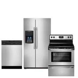 "3-Piece Stainless Steel Kitchen Package with FFHS2622MS 36"" Freestanding Side-by-Side Refrigerator, FFEF3043LS 30"" Freestanding Electric Range and FFBD2406NS Full Console Dishwasher"