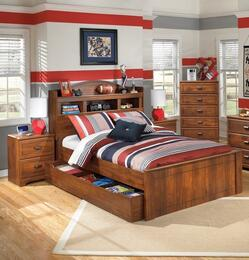 Barchan Twin Bedroom Set with Bookcase Panel Bed with Trundle, Chest and 2 Nightstands in Warm Brown
