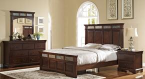 00455210220230DMN 4 Piece Bedroom Set with California King Madera Bed, Dresser, Mirror and Nightstand, in Chestnut