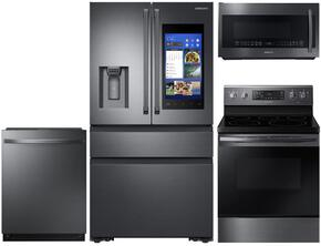 4-Piece Black Stainless Steel Kitchen Package with RF23M8590SG 36