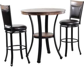 "Franklin Collection 15D2020PT3 40"" 3 Piece Dining Table Set with One Pub Table and 2 Swivel Bar Stool in Metal and Wood Finish"