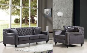 Harley Collection 6162PCARMKIT2 2-Piece Living Room Sets with Stationary Sofa, and Living Room Chair in Grey
