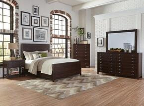 Lancaster Collection 204291KESET 5 PC Bedroom Set with Eastern King Size + Dresser + Mirror + Chest + Nightstand in Wire-Brushed Acacia Cocoa Finish