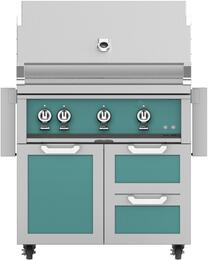 "36"" Freestanding Liquid Propane Grill with GCR36OR Tower Grill Cart with Triple Doors, in Bora Bora Turquoise"