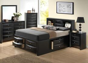 G1500GKSB3DMN 4 Piece Set including  King Size Bed, Dresser, Mirror and Nightstand in Black