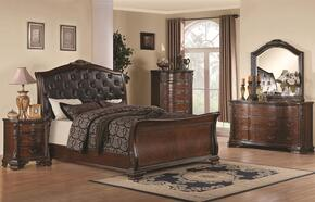 Maddison 202261KEDMNC 5-Piece Bedroom Set with King Sleigh Bed, Dresser, Mirror, Nightstand and Chest in Cappuccino Finish