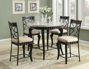 Lorencia 18294T4C 5 PC Bar Table Set with Counter Height Table + 4 Chairs in Black with Gold Brushed Finish