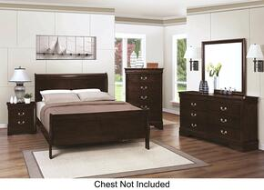 Louis Philippe 202411QDMN 4-Piece Bedroom Set with Queen Sleigh Bed, Dresser, Mirror and Nightstand in Cappuccino Finish