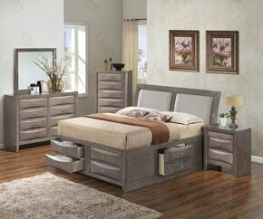 G1505IFSB4DMN 4 Piece Set including  Full Size Bed,  Dresser, Mirror and Nightstand in Gray