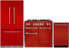 "3-Piece Red Kitchen Package with MMCFDR23SCR 36"" French Door Refrigerator, AMC48DFSCR 48"" Freestanding Dual Fuel Range, and AMCTTDWSCR 24"" Fully Integrated Dishwasher"