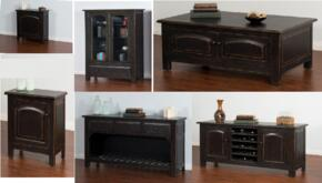 "2271B-DC2 72"" Black 2 Door Display Cabinet with Distressed Mohagany Solids and Veneers, Accent Chest, Coffee Table, End Table, Sofa Table and Side Board w/ Wine Storage in Black Finish"