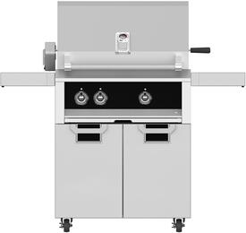 "30"" Liquid Propane Grill with ECD30BK Tower Grill Cart with Two Doors, in Stealth Black"