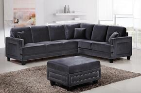 Ferrara 655GRY-SS-O 2 Piece Living Room Set includes Sectional Sofa + Ottoman with Velvet Upholstery in Grey