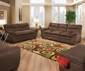Frances 52340SLCO 4 PC Living Room Set with Sofa + Loveseat + Chair + Ottoman in Luna Chocolate Color