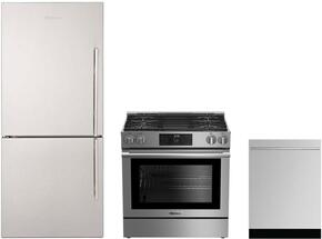 "3-Piece Kitchen Package with BRFB1812SSLN 30"" Counter Depth Bottom Freezer Refrigerator, BGR30420SS 30"" Slide-In Gas Range, and a free DWT58500SSWS 24"" Built In Fully Integrated Dishwasher in Stainless Steel"