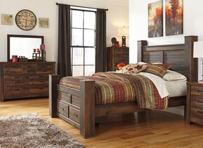 Quinden Queen Bedroom Set with Poster Storage Bed, Dresser, Mirror and Chest in Dark Brown Finish