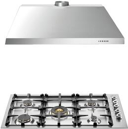 "2-Piece Stainless Steel Kitchen Package with  QB36500X 36"" Natural Gas Cooktop and KU36PRO1X14 36"" Canopy Hood"