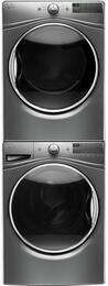 "Chrome Shadow Front Load Laundry Pair with WFW85HEFC 27"" Washer, WGD85HEFC 27"" Gas Dryer and W10869845 Stacking Kit"