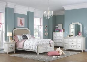 Madison 88904015325335PC Bedroom Set with Full Size Bed + Dresser + Mirror + Chest + Nightstand in White Color