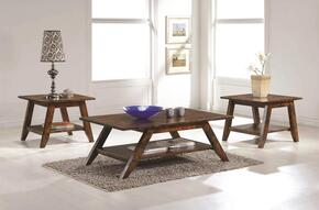 704038CE 3 PC Living Room Table Sets with Rectangular Coffee Table + 2 Square End Tables in Rustic Pecan FInish