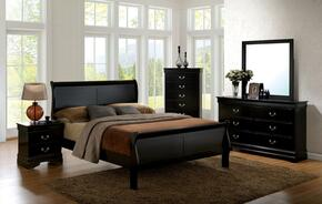 Louis Philippe III Collection CM7866BKEKBEDSET 5 PC Bedroom Set with Eastern King Size Sleigh Bed + Dresser + Mirror + Chest + Nightstand in Black Finish