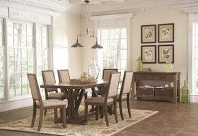 Bridgeport 105521CS 8 PC Dinnig Room Ser with Dining Table + 6 Side Chairs + Server in Weathered Acacia Finish
