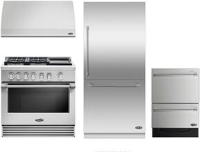 "4 Piece Kitchen Package With RGV2364GDN 36"" Gas Freestanding Range, DCS VS36 36"" Wall Mount Hood, RS36W80RJC1 36"" Built In Bottom Freezer Refrigerator and DD24DV2T7 24"" Dishwasher in Stainless Steel"