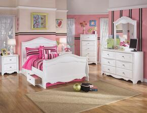 Exquisite Full Bedroom Set with Sleigh Bed with Underbed Drawers, Dresser, Mirror and Nightstand in White