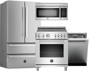"4-Piece Stainless Steel Kitchen Package with REF36X 36"" French Door Refrigerator and PROHK36REF Handle, PRO304INMXE 30"" Freestanding Electric Range, KOTR30X 36"" Mirowave Oven, DW24XV 24"" Fully Integrated Dishwasher and PROHK2 Handle"