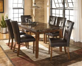 Lacey Collection 7-Piece Dining Room Set with Rectangular Dining Table and 6 Side Chairs in Medium Brown
