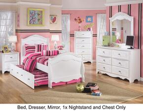 Exquisite Twin Bedroom Set with Trundle Bed, Dresser, Mirror, Single Nightstand and Chest in White