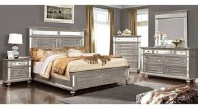 Salamanca Collection CM7673QBDMCN 5-Piece Bedroom Set with Queen Bed, Dresser, Mirror, Chest and Nightstand in Silver Finish